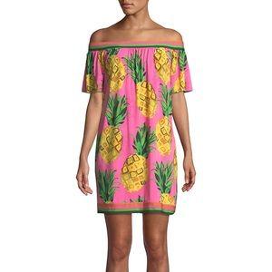 Trina Turk Kelso Off Shoulder Pineapple Dress NWT